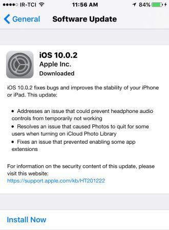 به روز رسانی جدید ios 10.0.2 هم رسید