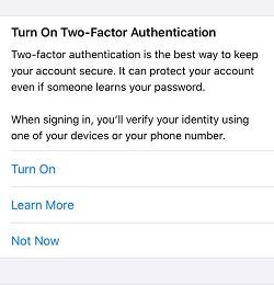 پیام two-factor authentication در آیفون، البان