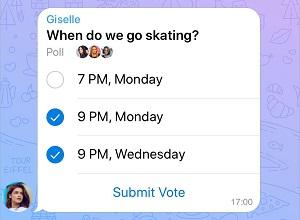 نظرسنجی چند گزینه ای تلگرام، البان